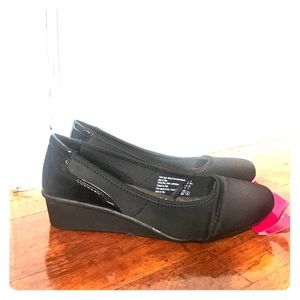 Black Deflex Comfort Kitten Wedges